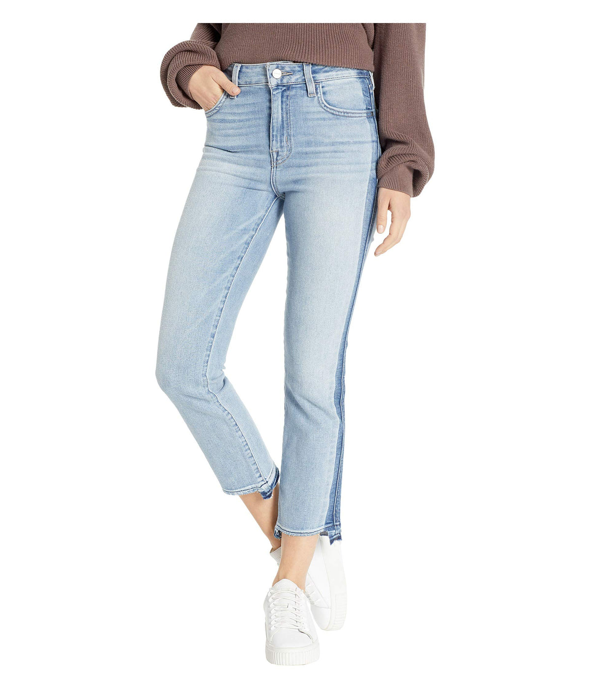 Modern High-Rise Crop Jeans with Indigo Shadow in Split Personality