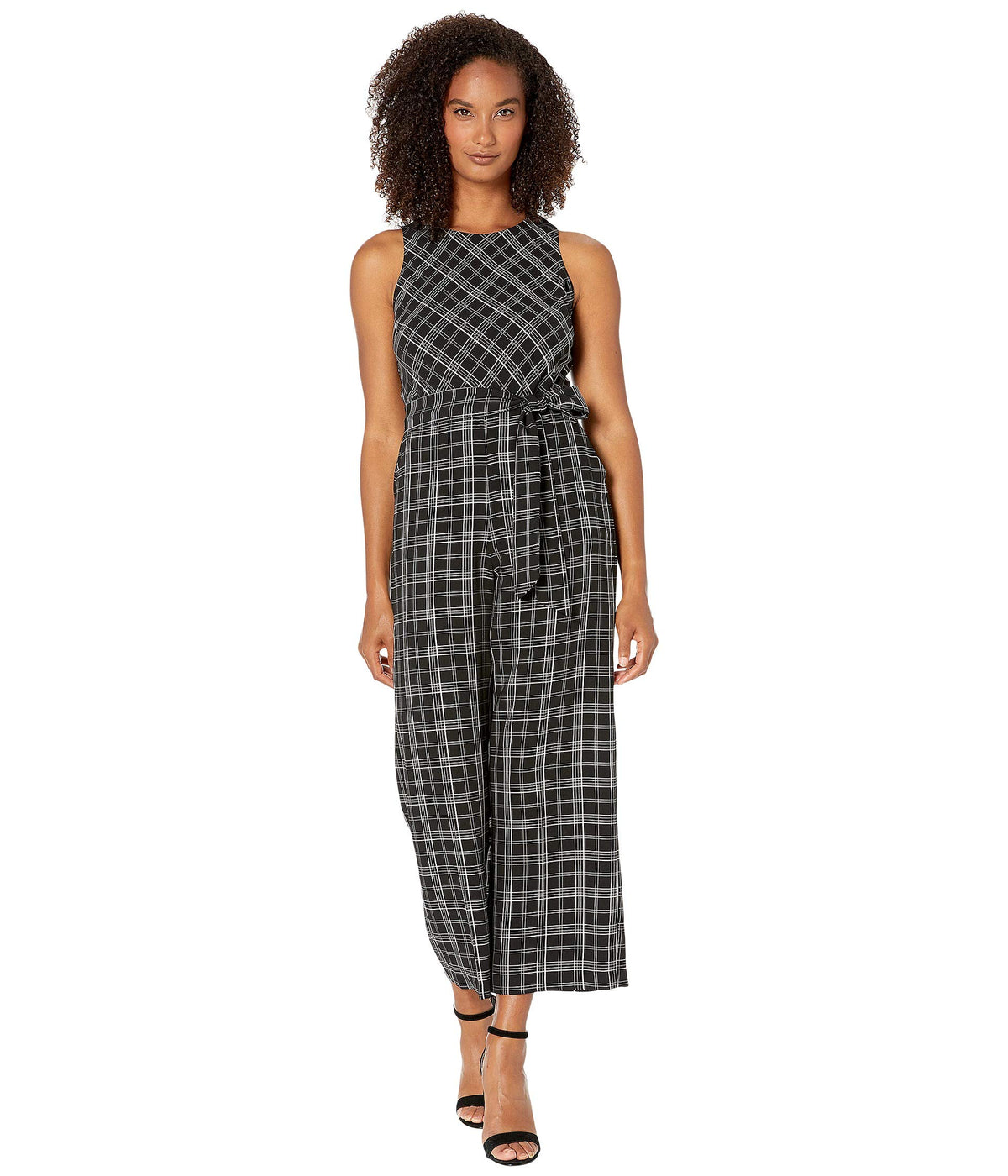 Sleeveless Belted Even Plaid Jumpsuit