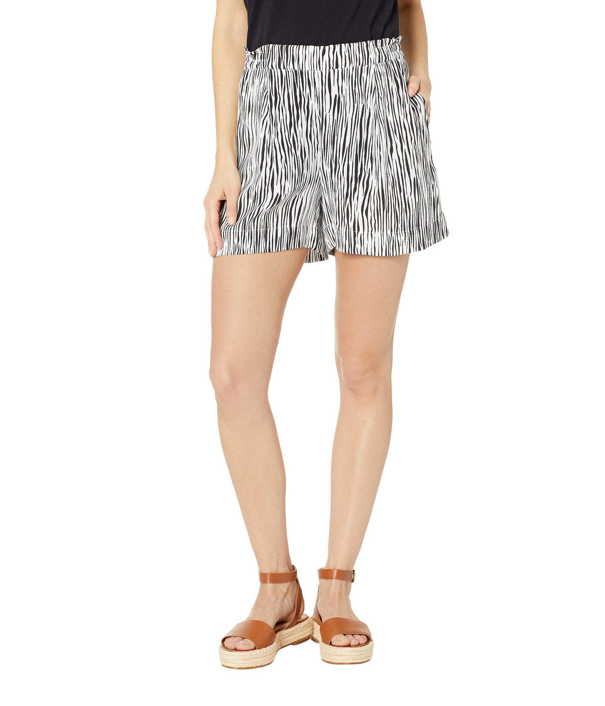 Mini Zebra Printed Crepe Shorts