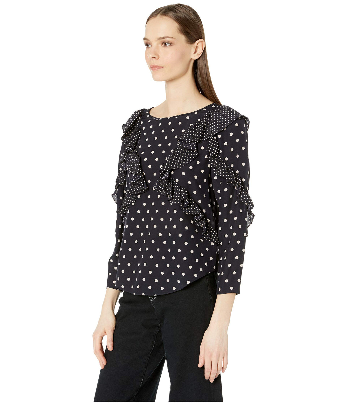 Long Sleeve Dot Ruffle Top