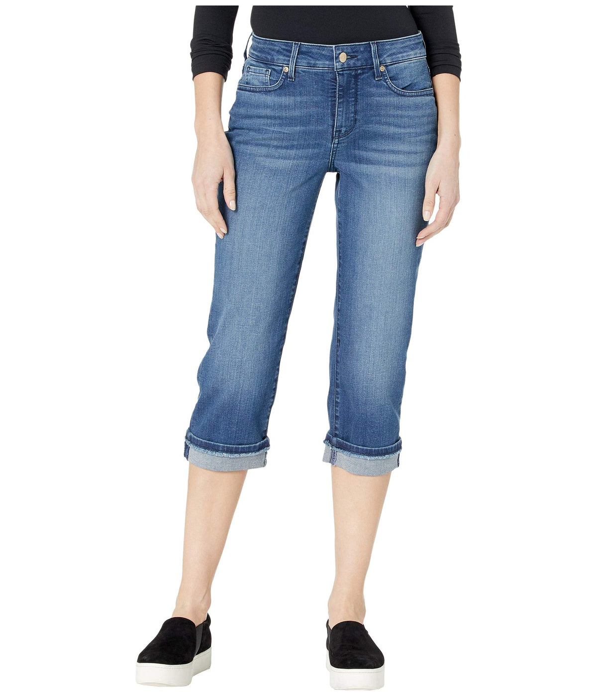 Marilyn Crop Jeans with Frayed Cuffs in Meloy