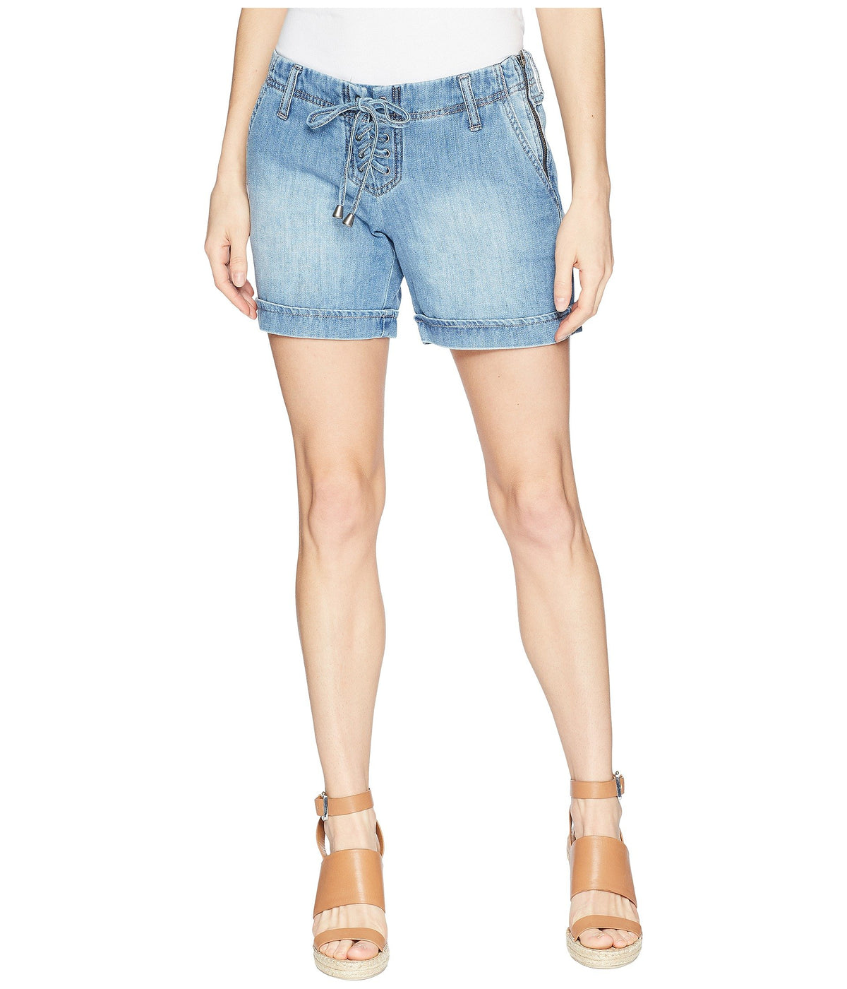 Cassidy Lace-Up Shorts in Classic Soft Rigid Denim in Beacon Handsand