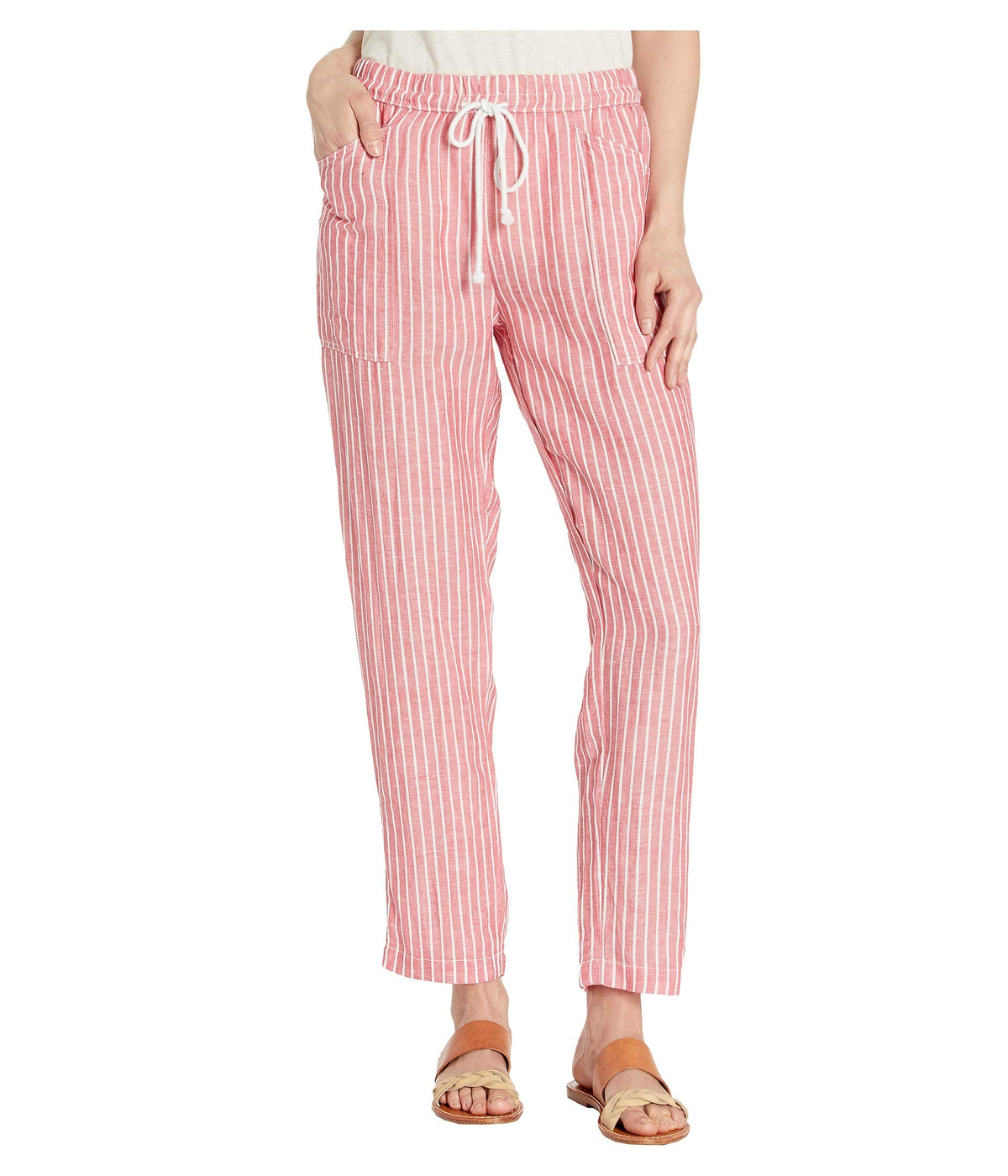 Stripe Pull-On Drawstring Pants