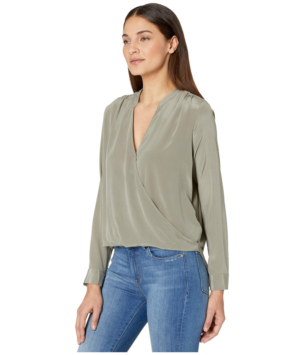 Long Sleeve Silk Mixed Media Surplice Top