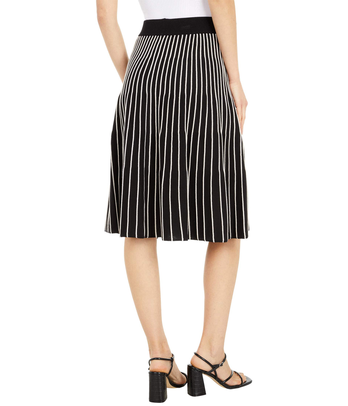 Reverse Jersey Striped Flared Skirt