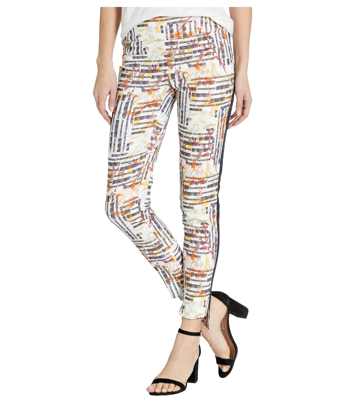 Aruba Print Pull-On Ankle Pants with Side Stripe