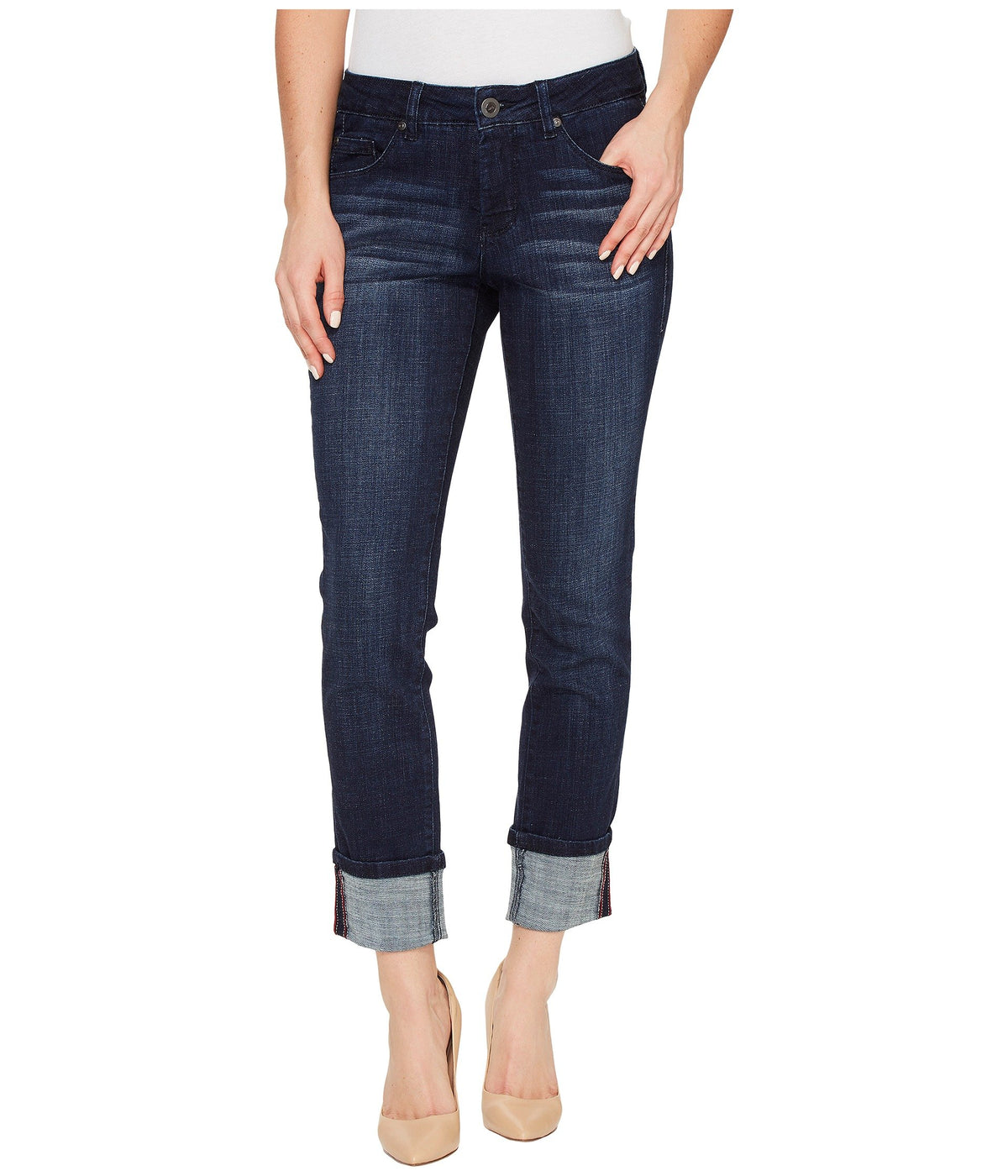Maddie Skinny Cuff Crosshatch Denim in Night Breeze