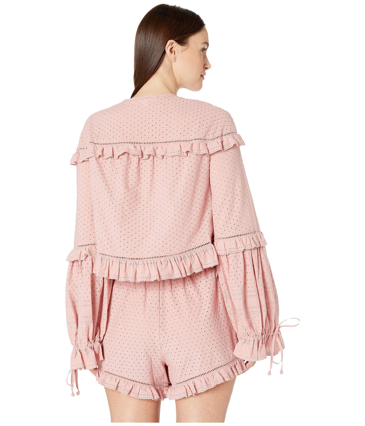 Embroidered Ruffle Long Sleeve Top