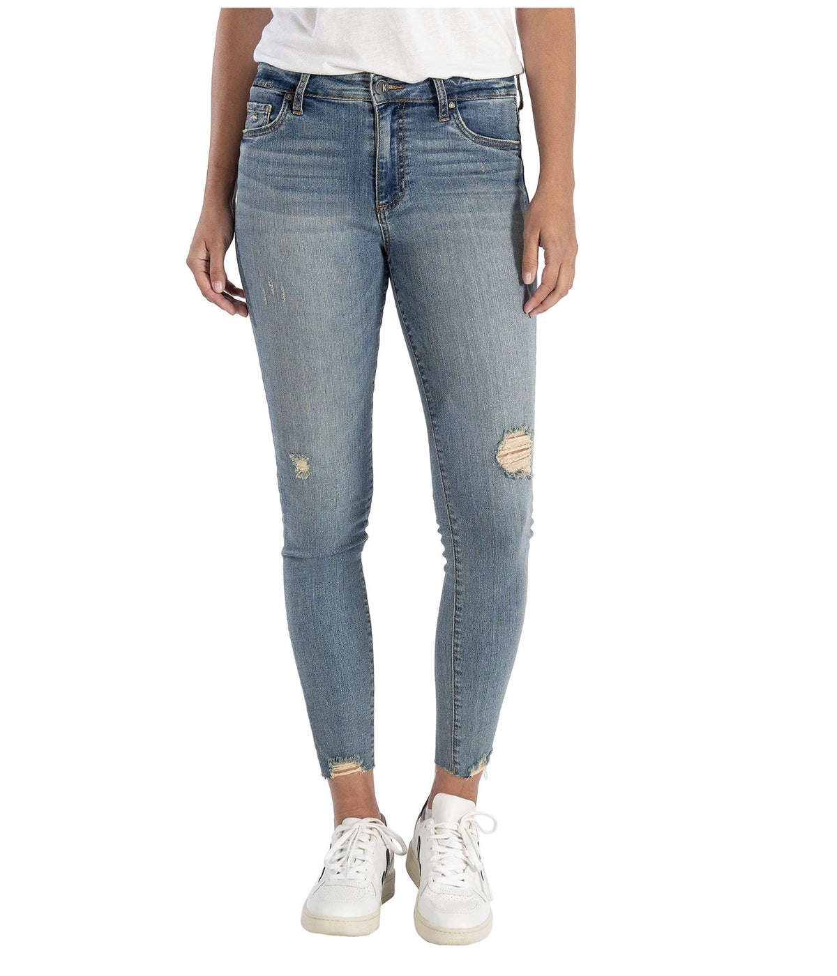 Connie High-Rise Ankle Skinny w/ Raw Hem in Willpower