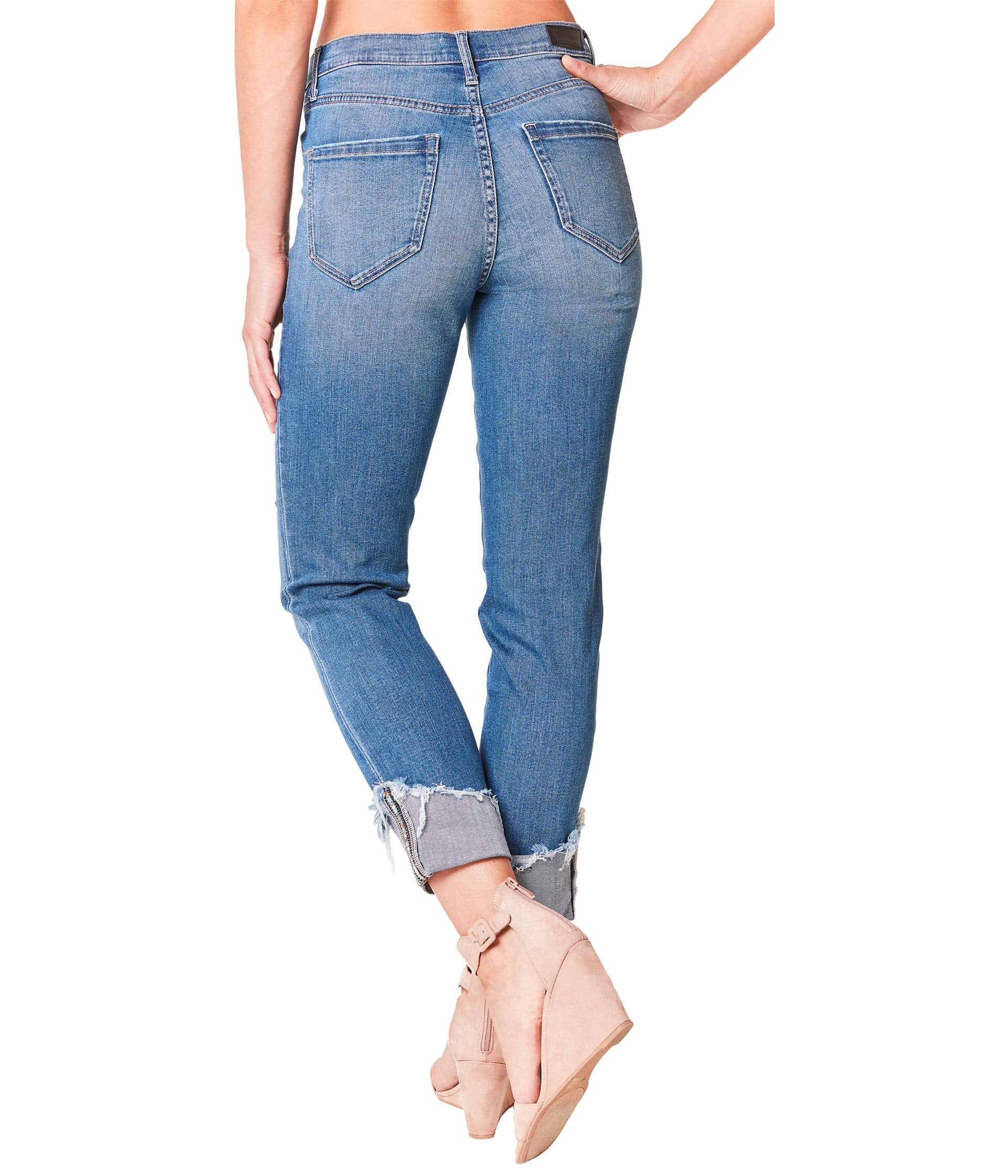 Eco Denim Cuff Jeans in Dark Blue