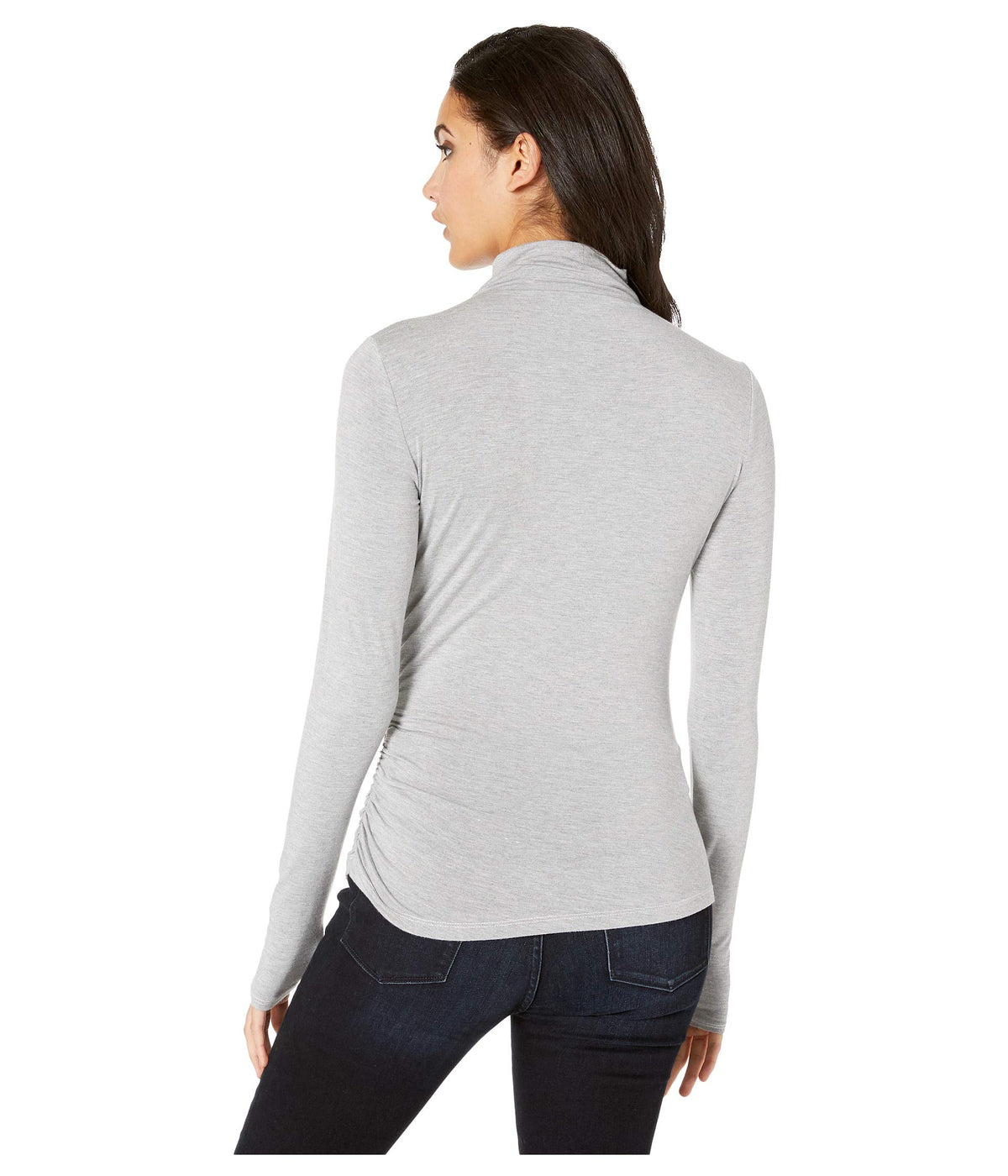 Jules Jersey Long Sleeve Mock Neck Side Ruched Tee