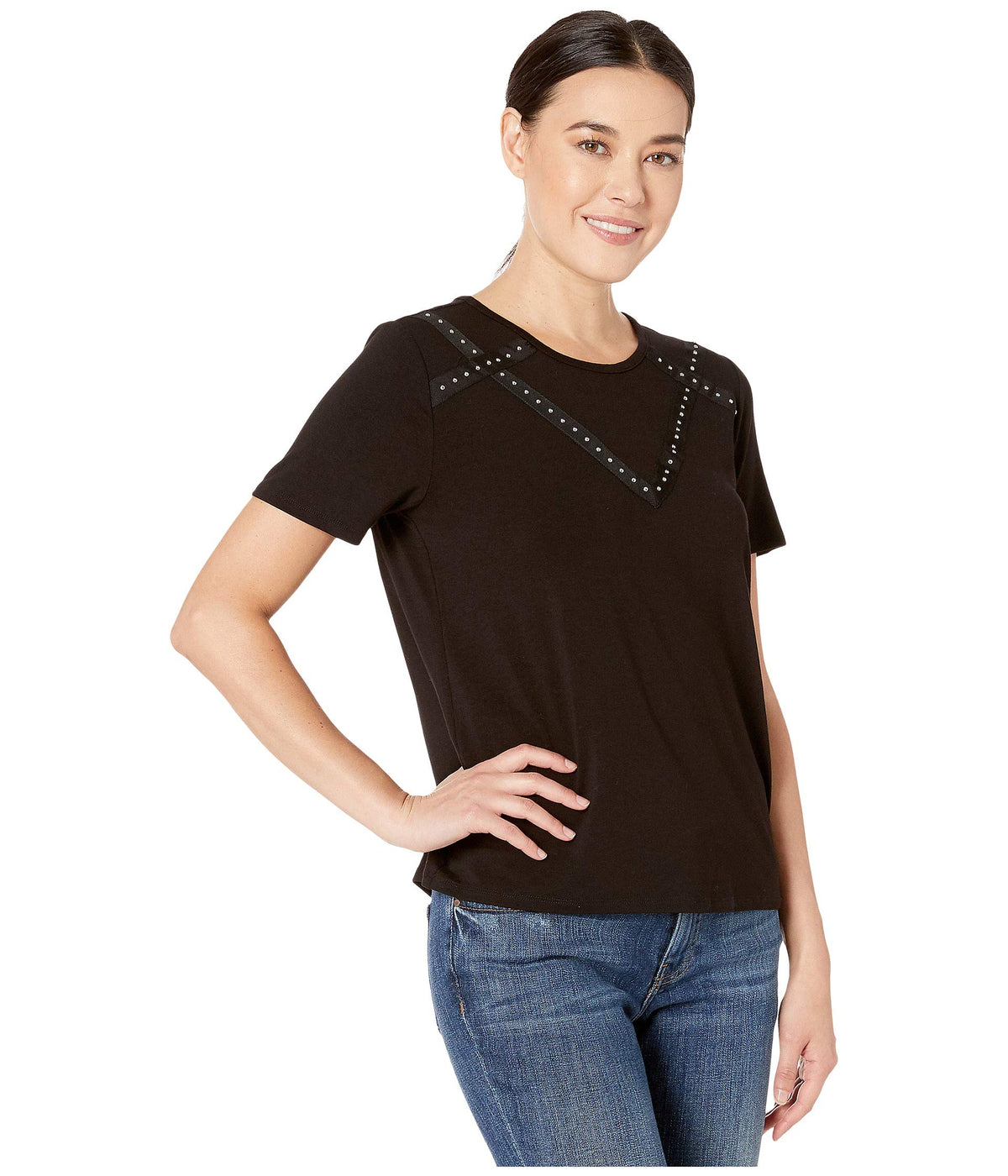 Short Sleeve Studded Grosgrain Yoke Top