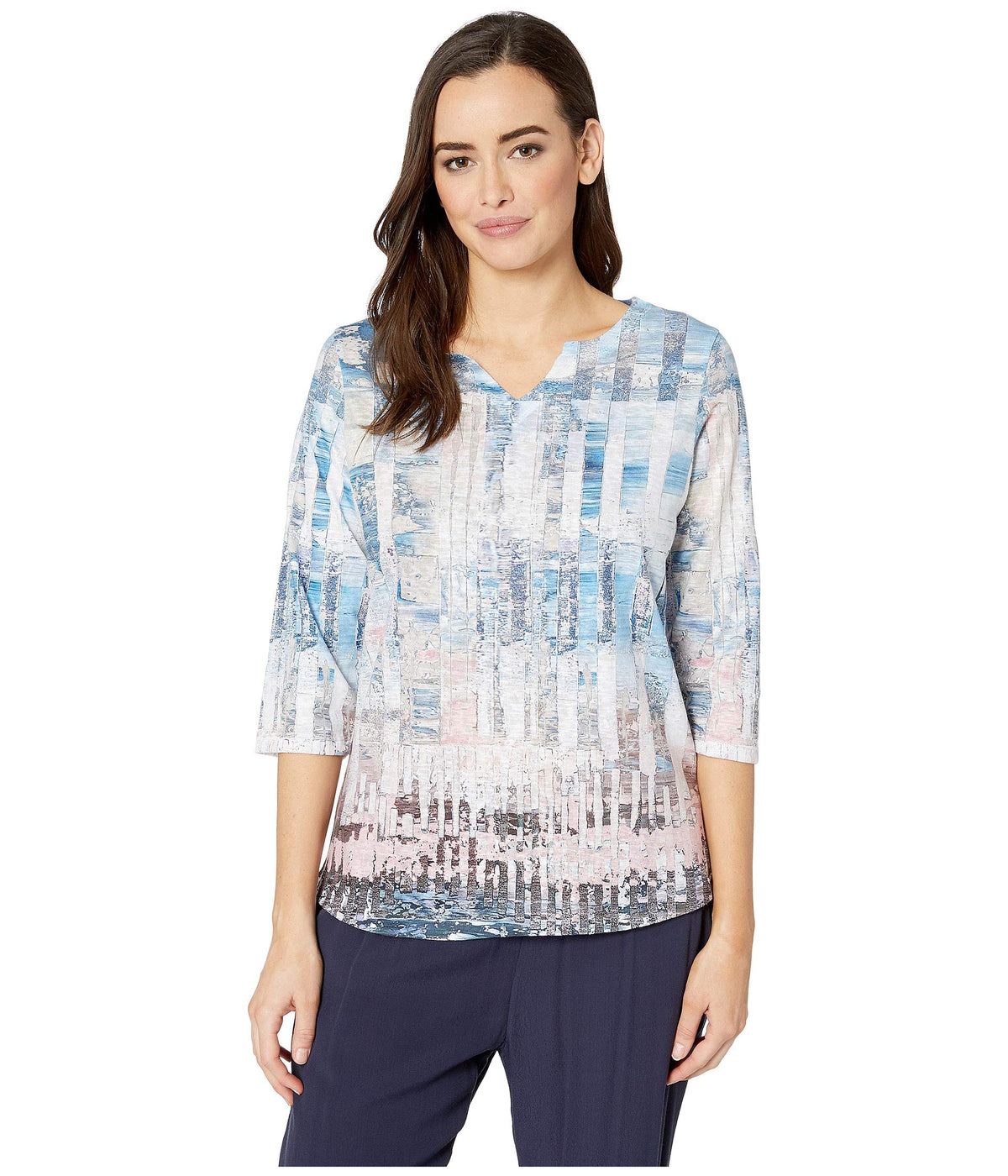 Printed Smooth Jersey Abstract Print Notched Crew Top