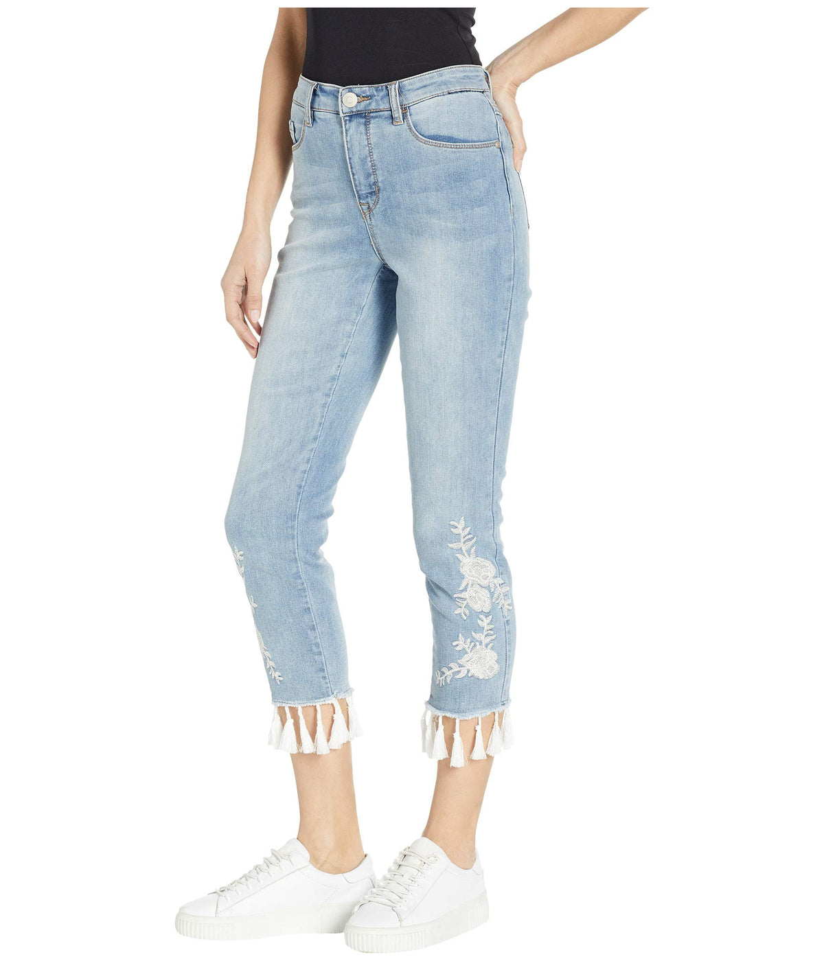 True Denim Crop Skinny with Embroidery and Tassels in Cruise Wash