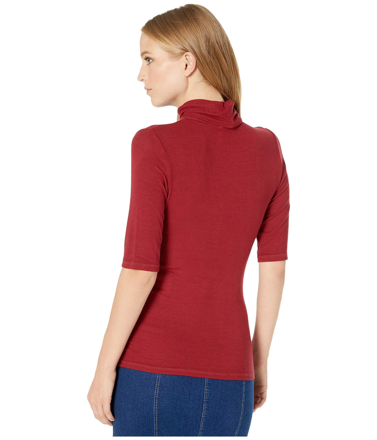 2x1 Rib Gabriella Elbow Sleeve Turtleneck