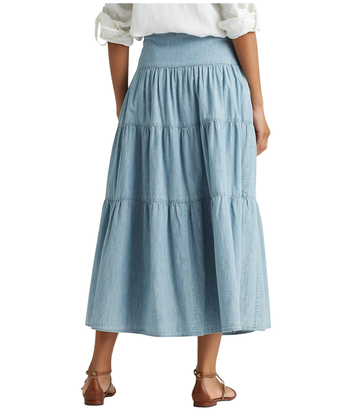 Tiered Chambray Peasant Skirt