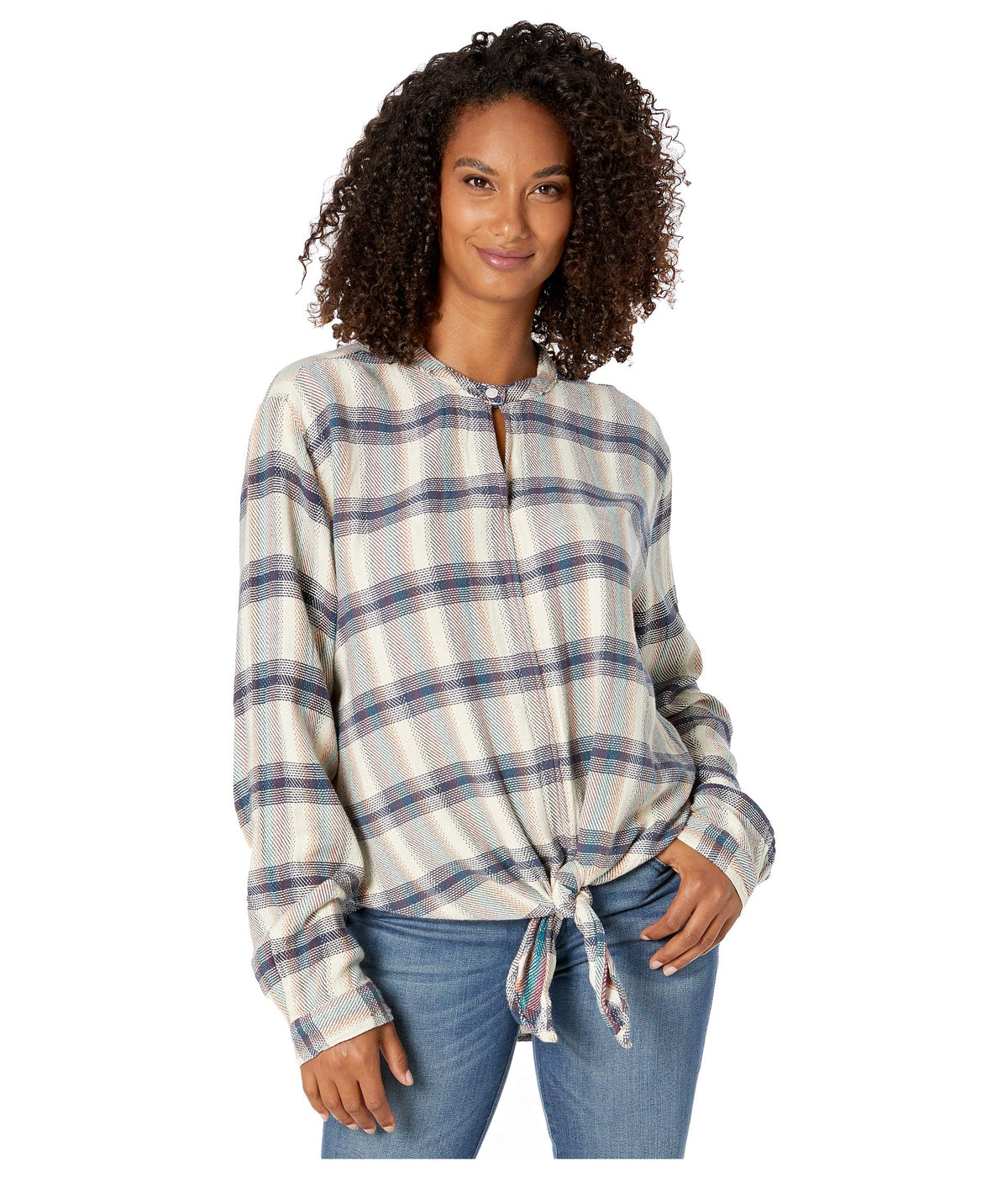 Wyatt Plaid Long Sleeve Tie Front Top