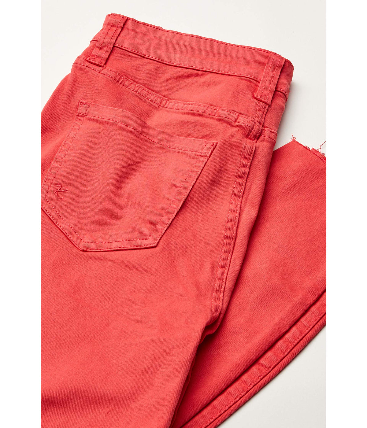 Connie High-Rise Ankle Skinny with Raw Hem in Coral