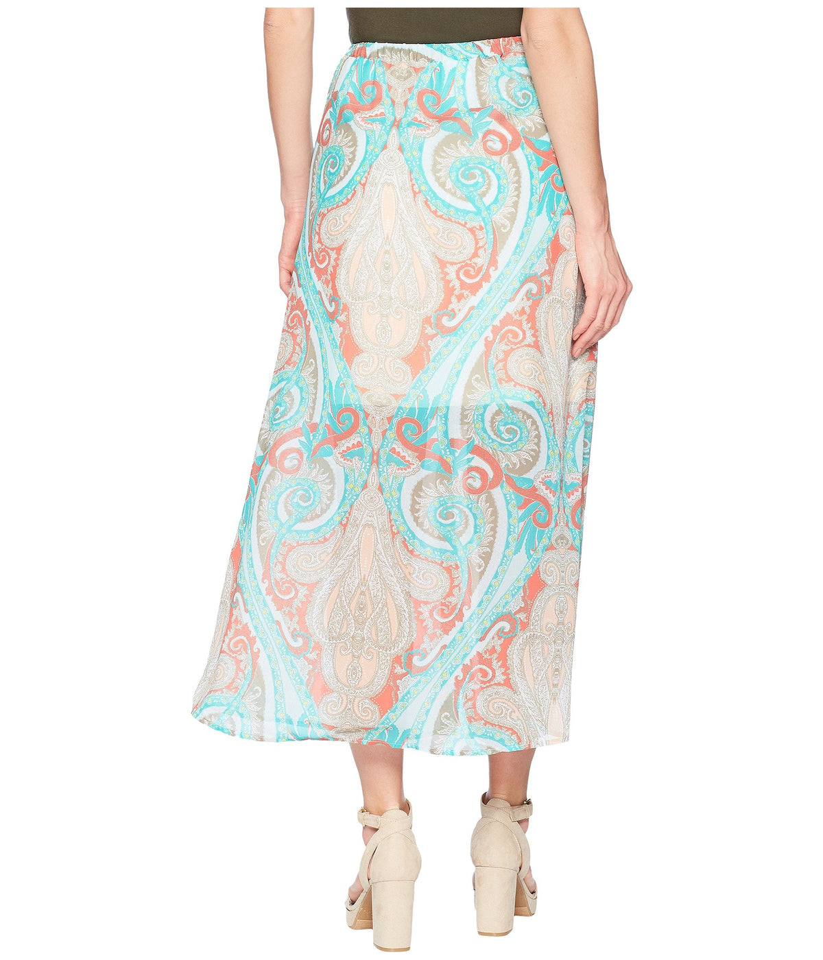 "Printed 37"" Pull-On Maxi Skirt with Tassel"