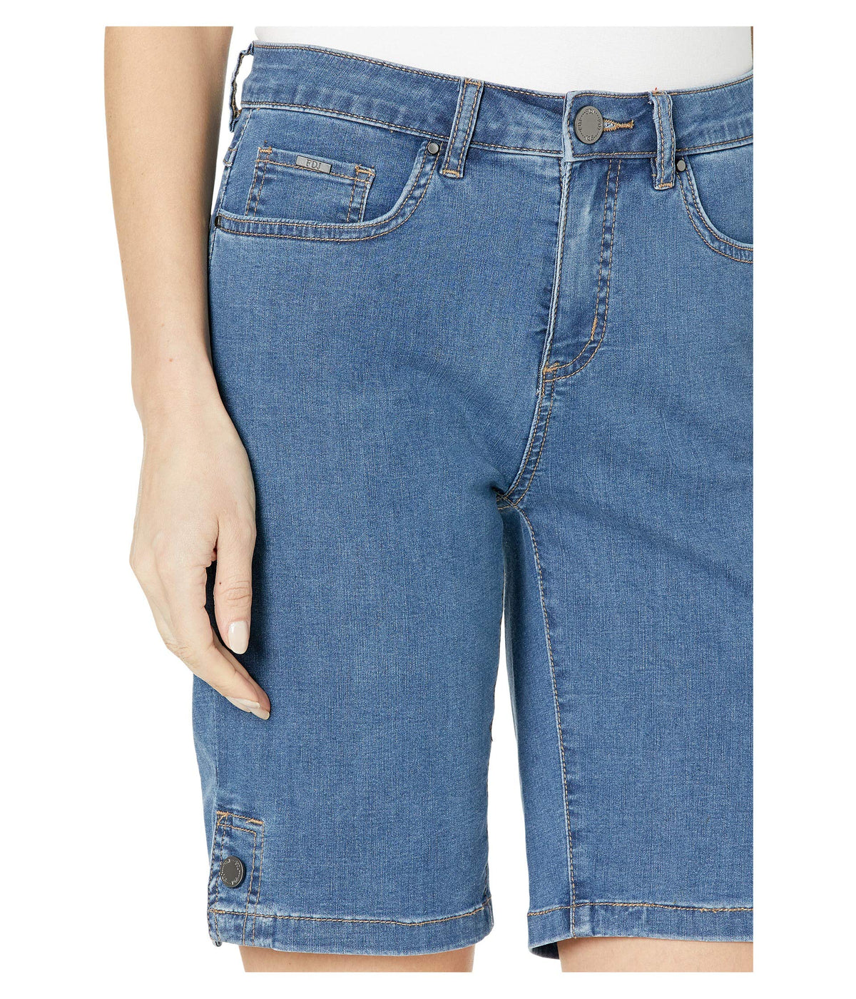 Lightweight Denim Olivia Bermuda with Button Detail in Indigo