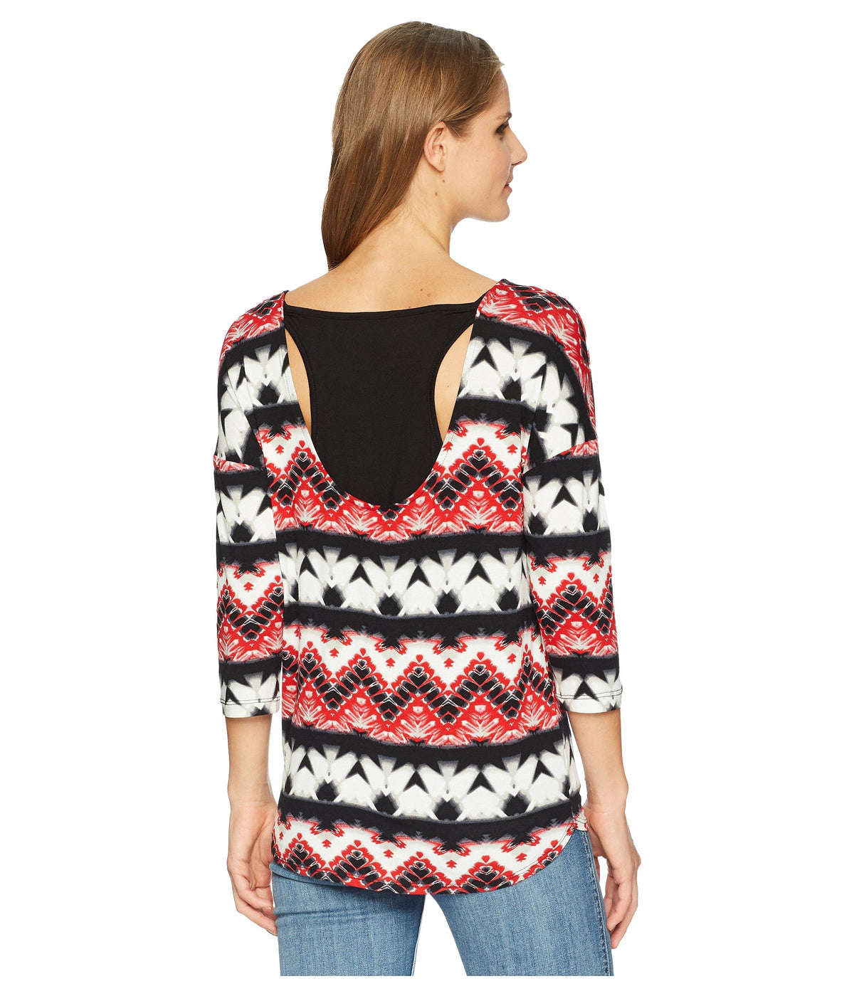 Printed Jersey Crew Neck Top with Fooler Back