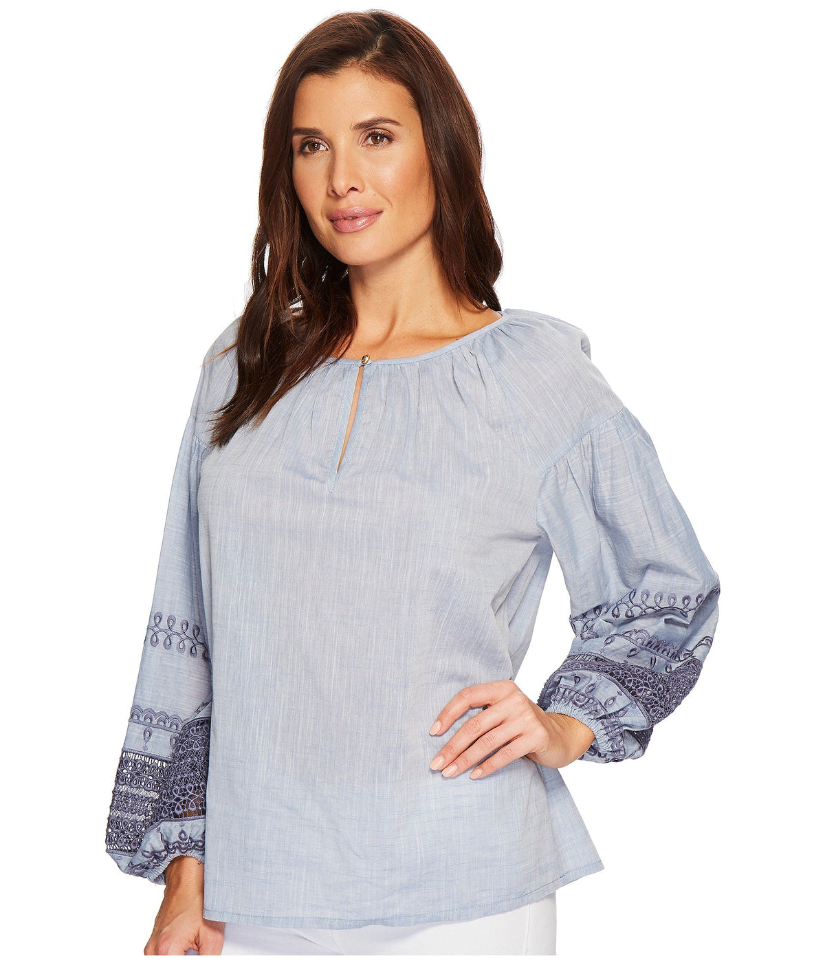 Balloon Sleeve Top with Eyelet Detail