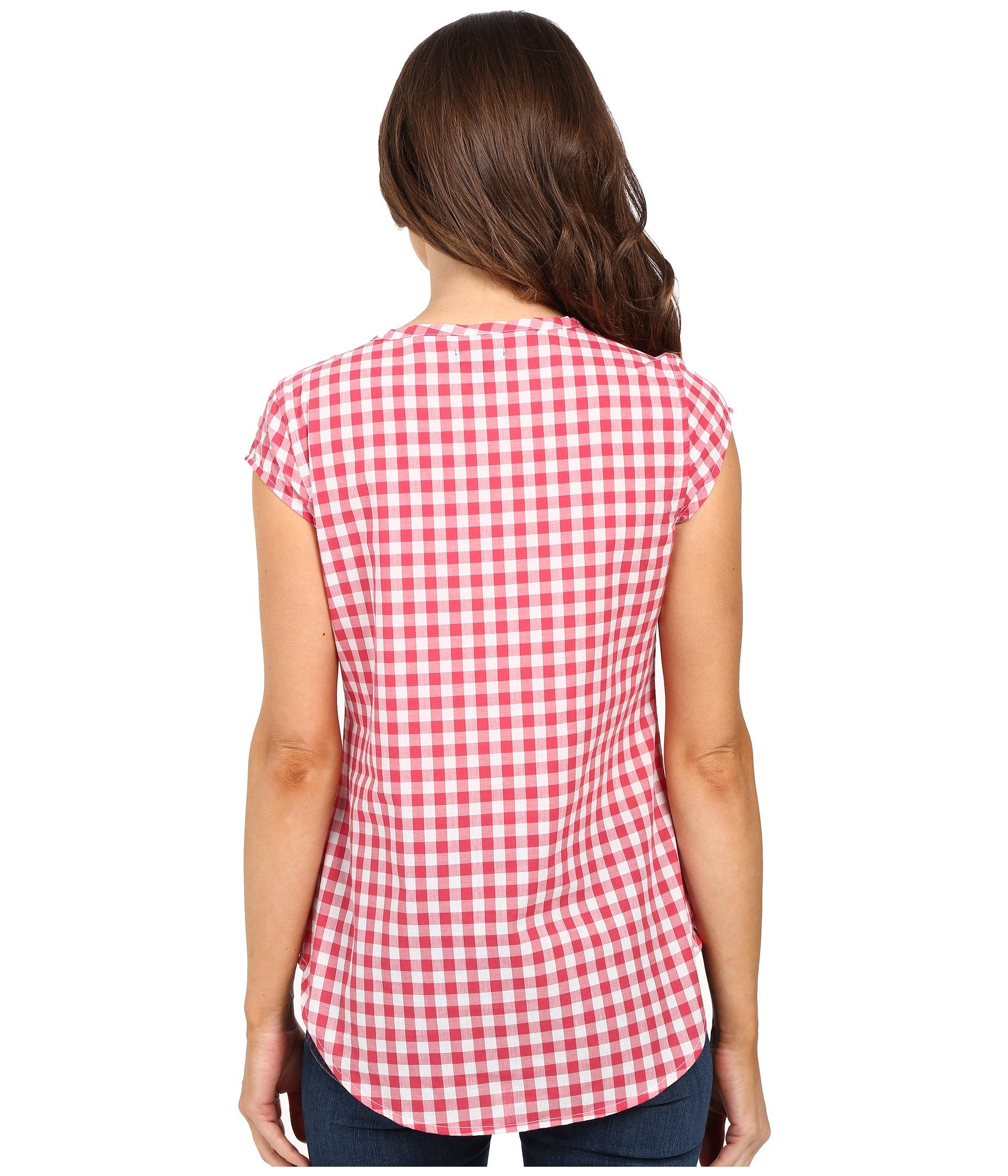 Cap Sleeve 1/2 Placket Pullover Check Shirt