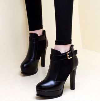 Black Bottom Boots High Heels Pu Suede Leather Shoes Ankle Boots