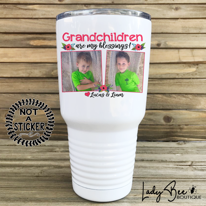 Grandchildren Are My Blessings, 30oz Photo Tumbler - LadyBee Boutique Mugs
