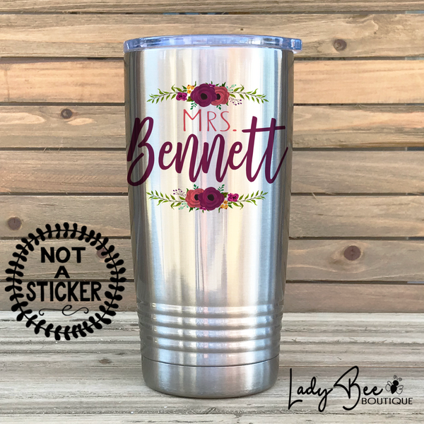 Personalized Teacher Tumbler: Purple and Maroon - LadyBee Boutique Mugs
