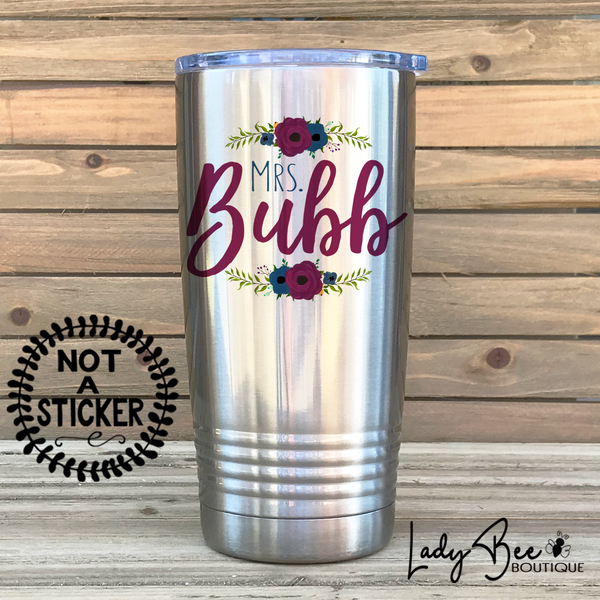 Personalized Teacher Tumbler: Maroon and Navy - LadyBee Boutique Mugs
