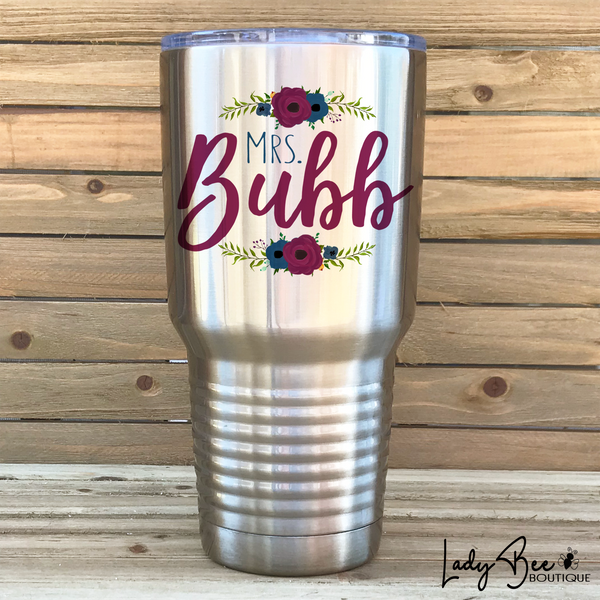 Personalized Teacher Tumbler: Navy and Maroon - LadyBee Boutique Mugs