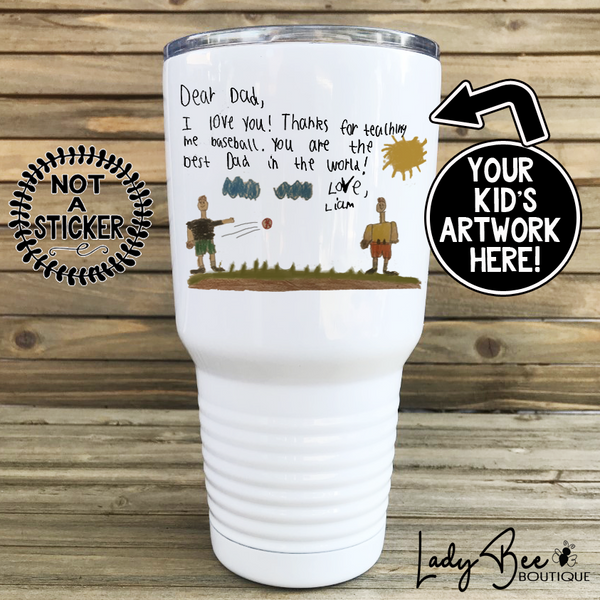 30oz Photo Tumbler with Kid's Artwork - LadyBee Boutique Mugs