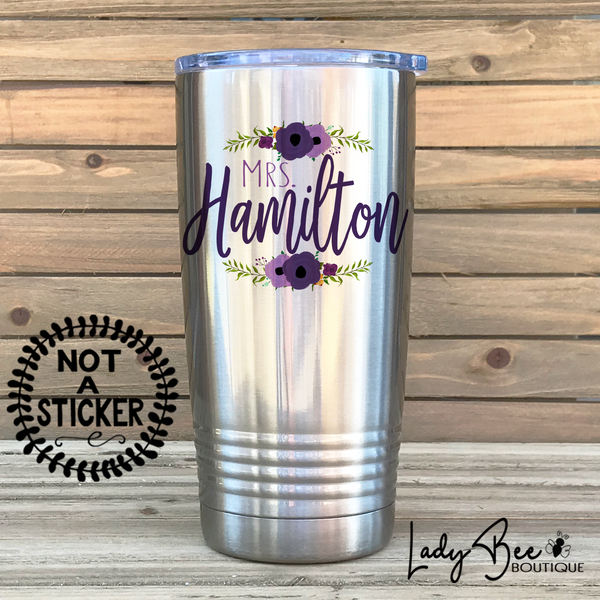 Personalized Teacher Tumbler: Lavender and Purple - LadyBee Boutique Mugs