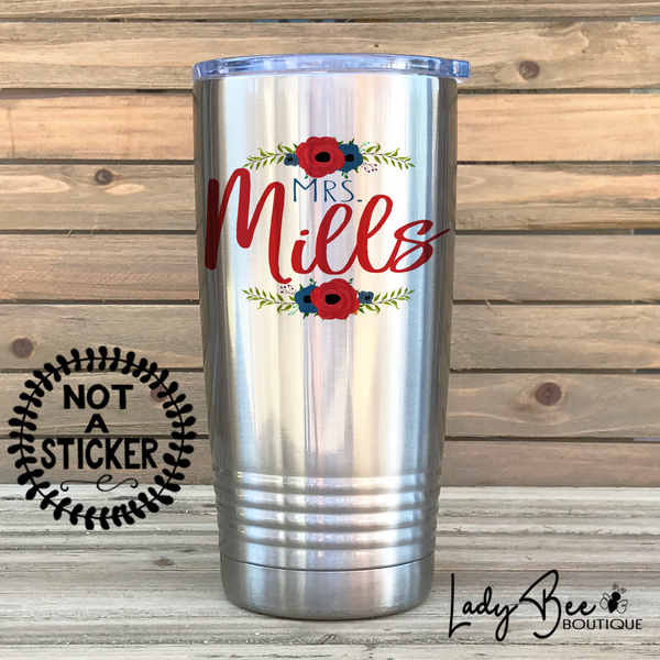 Personalized Teacher Tumbler: Red and Navy - LadyBee Boutique Mugs