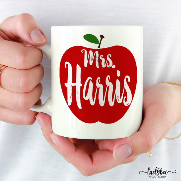 Apple Mrs Teacher Mug - LadyBee Boutique Mugs