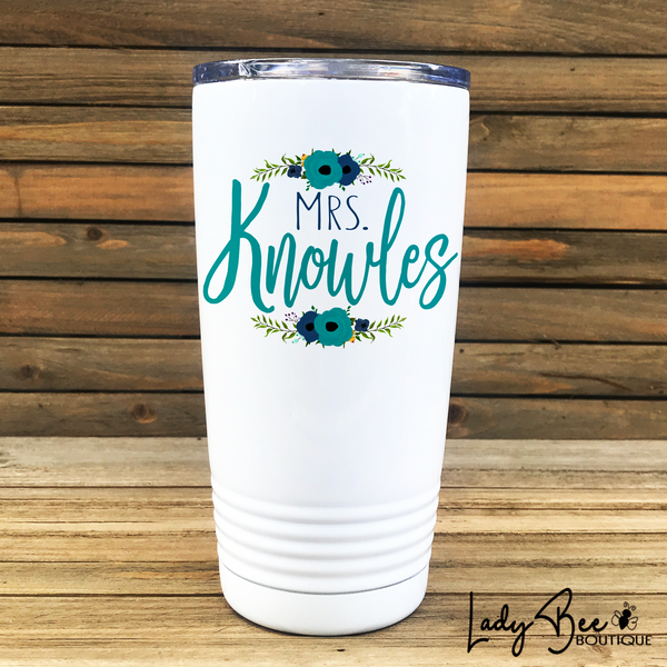 Personalized Teacher Tumbler: Blue and Teal Flowers - LadyBee Boutique Mugs