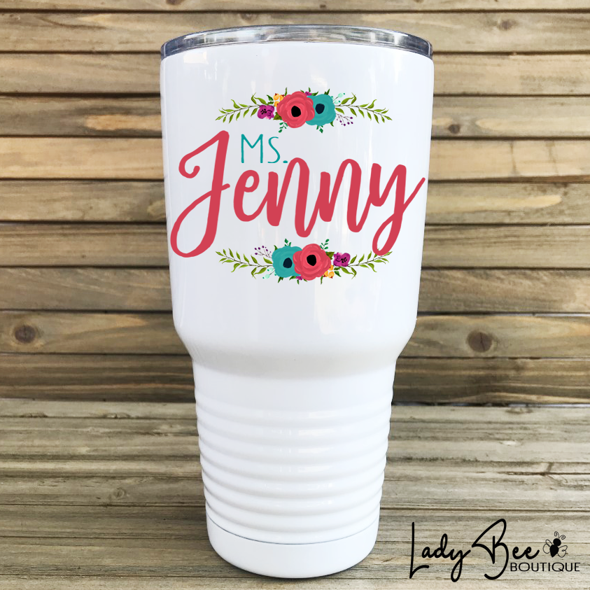Personalized Teacher Tumbler: Pink and Teal - LadyBee Boutique Mugs