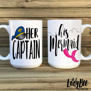 Her Captain, His Mermaid Mugs - LadyBee Boutique Mugs