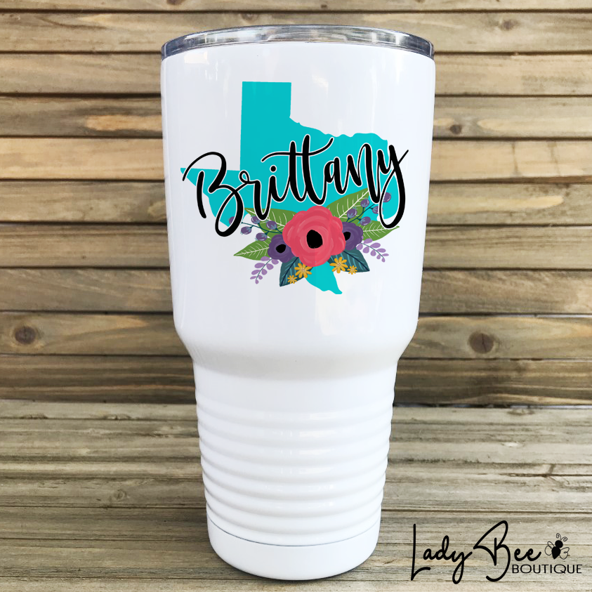 Custom State and Name Tumbler - LadyBee Boutique Mugs