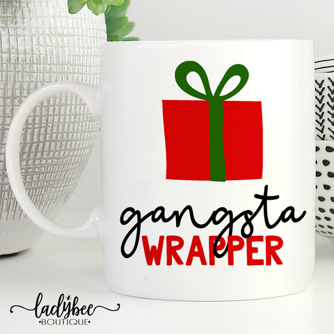 Gangsta Wrapper, Christmas Mug - LadyBee Boutique Mugs