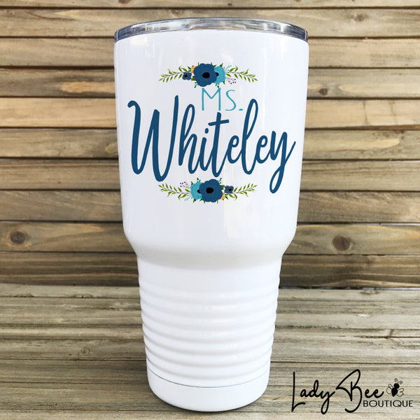 Personalized Teacher Tumbler: Blue and Teal