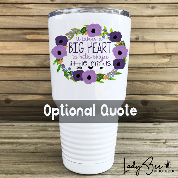 Personalized Teacher Tumbler: Purple and Lavender - LadyBee Boutique Mugs