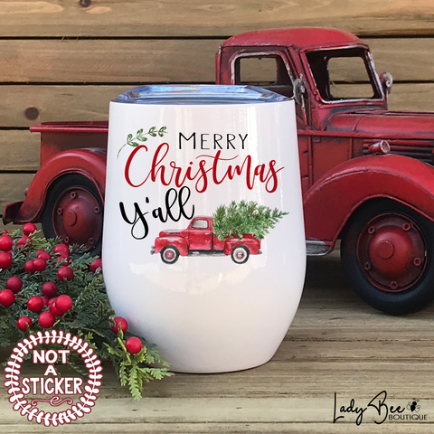 Merry Christmas Y'all, Wine Tumbler - LadyBee Boutique Mugs