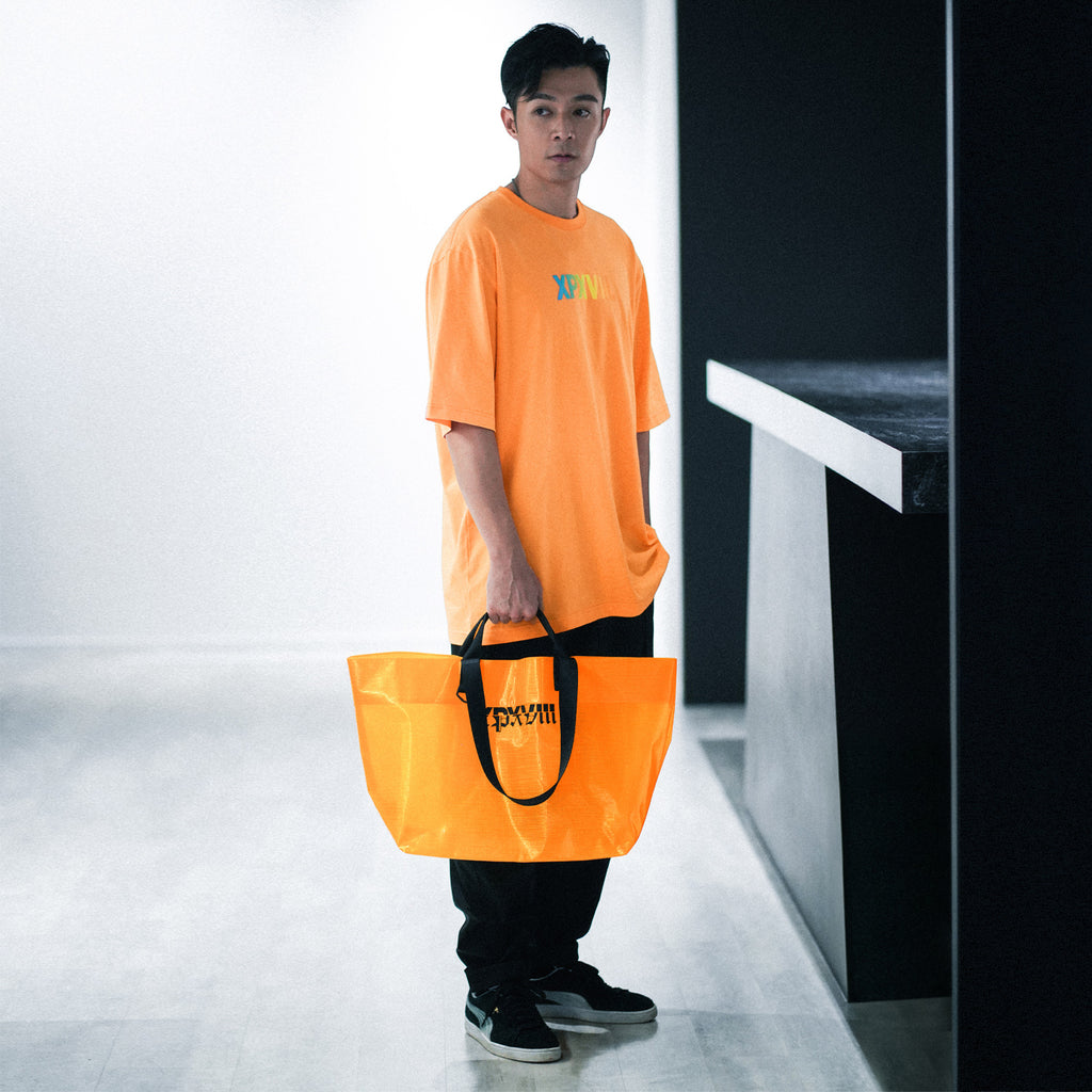 'XPX XPXVIII. POLYETHYLENE TOTE BAG IN ORANGE