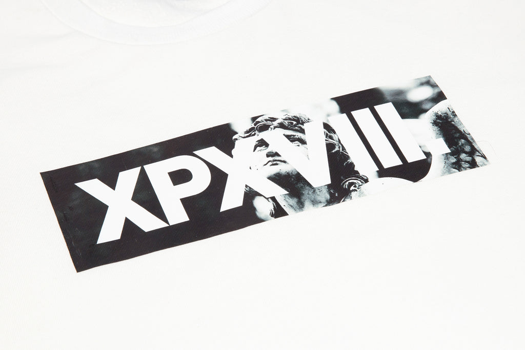 'XPX 'STATUE FACE' BOX LOGO WHITE CREW NECK SWEATER