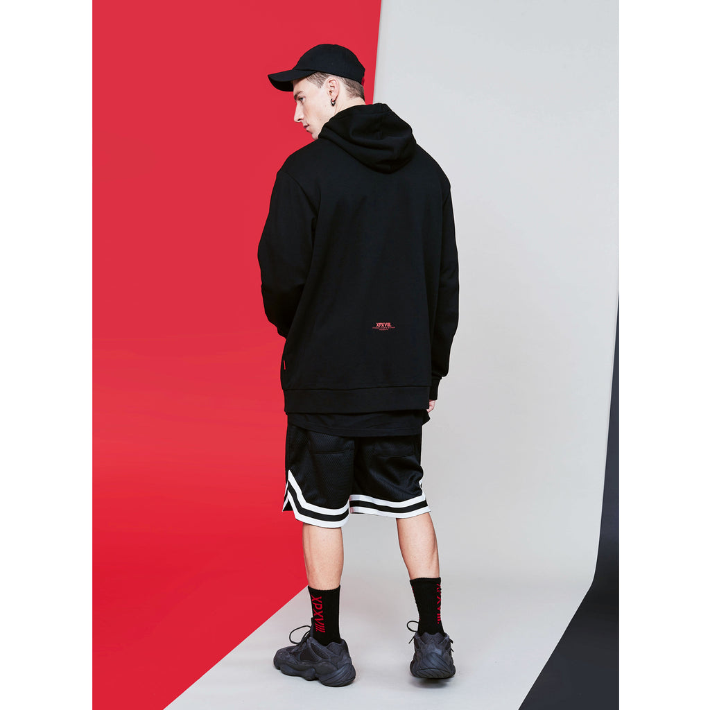 XPX BOX LOGO INNER FLEECE HOODED BLACK SWEATER