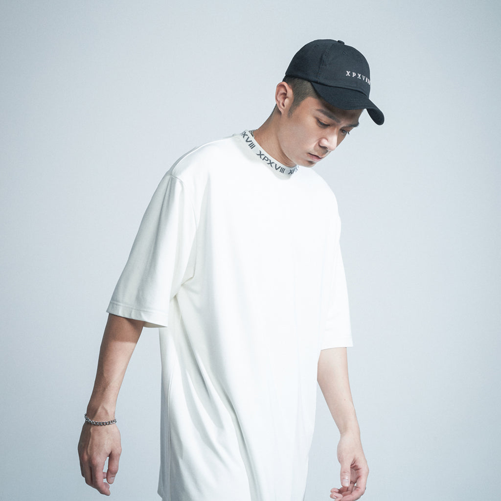 'XPX 'MOCK NECK' XPXVIII. WHITE TEE