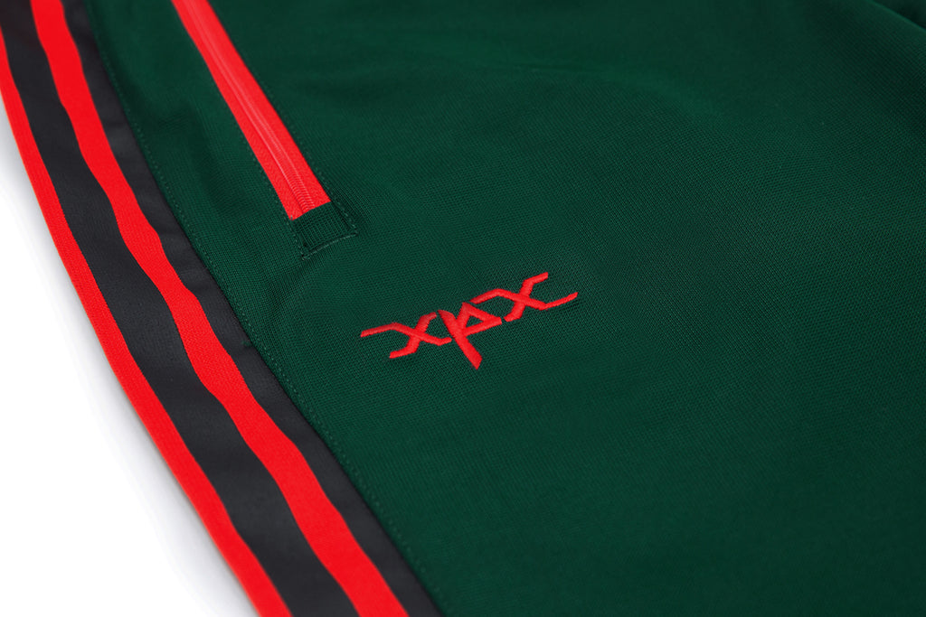 'XPX RED HIGHLIGHT TRACK PANTS IN DARK GREEN