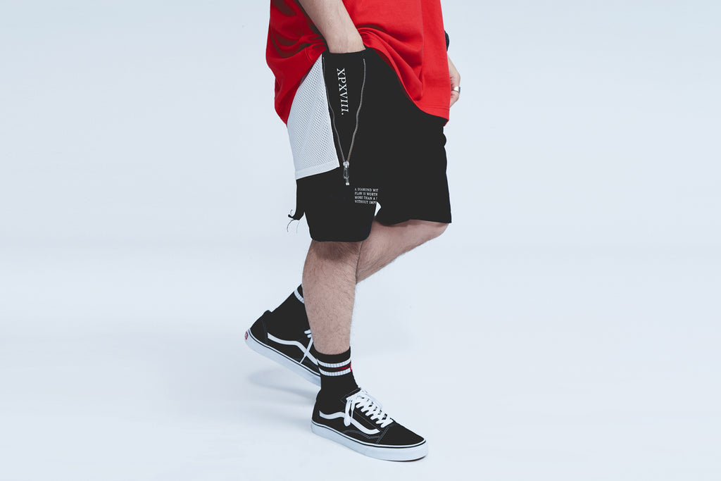 'XPX SHORT JEANS WITH SIDE ZIP DETAILS